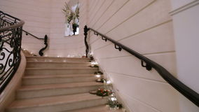 Marble white staircase stock footage