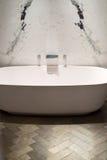 Marble and Wood Bathroom Stock Photo