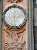 Marble year and relief carving. Veined marble bas-relief with a year with roman numerals - nice art on the wall of a Baroque church in Bergamo Stock Photography