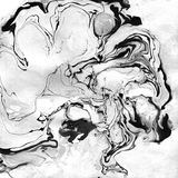 Marbled Black and White Abstract Background. Liquid Marble Illistration. royalty free stock photo