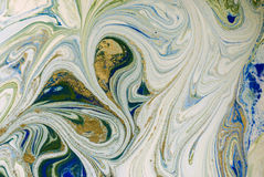 Free Marbled Blue, Green And Gold Abstract Background. Liquid Marble Pattern. Royalty Free Stock Photo - 94852525