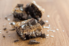 Marbled Brownies on counter. Marbled brownies with shaved chocolate on a wooden counter top Stock Photography