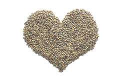 Marbled dark green lentils in a heart shape Stock Photography