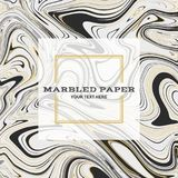 Marbled Paper Background 02. Marbled Paper Background in Black Gold Colours Stock Images