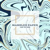 Marbled Paper Background 01. Marbled Paper Background in Blue Gold Colours Royalty Free Stock Photo