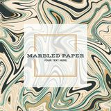 Marbled Paper Background 03. Marbled Paper Background in Green Gold Colours Royalty Free Stock Images