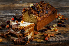 Marbled pound cake on a wooden board Stock Photography
