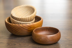 Marbled wooden bowls Stock Images
