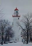 Marblehead latarni morskiej zima Zdjęcia Royalty Free