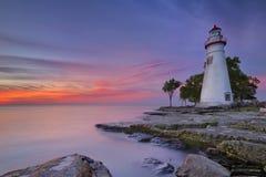 Marblehead latarnia morska na Jeziornym Erie, usa przy wschodem słońca Zdjęcia Stock