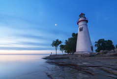 Marblehead-Leuchtturm an der Dämmerung [Ohio] Lizenzfreies Stockbild