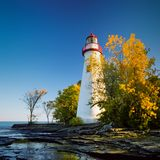 Marblehead Lighthouse in October Royalty Free Stock Images