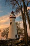 Marblehead Lighthouse in Ohio at Dawn Royalty Free Stock Image