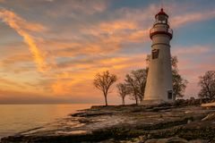 Marblehead Lighthouse in Ohio at Dawn. Marblehead Lighthouse at dawn with clouds Royalty Free Stock Images