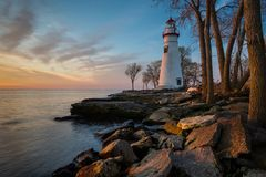 Marblehead Lighthouse in Ohio at Dawn. Marblehead Lighthouse at dawn with clouds Royalty Free Stock Image