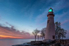 Marblehead Lighthouse in Ohio at Dawn royalty free stock photos