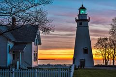 Marblehead Lighthouse in Ohio at Dawn Royalty Free Stock Photography