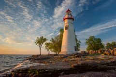 Marblehead Lighthouse in Ohio. At sunrise stock photo