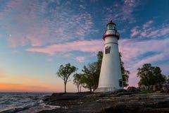 Marblehead Lighthouse in Ohio. At sunrise stock photos