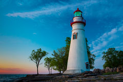 Marblehead Lighthouse in Ohio. At sunrise Royalty Free Stock Photos
