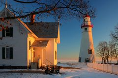 Marblehead Lighthouse in Ohio in Winter. Marblehead Lighthouse in Ohio at sunrise in winter at sunrise Royalty Free Stock Images