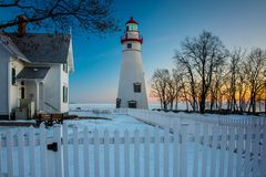 Marblehead Lighthouse in Ohio in Winter. Marblehead Lighthouse in Ohio at sunrise in winter at sunrise Stock Image