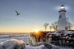 Marblehead Lighthouse Winter Sunrise Stock Photography