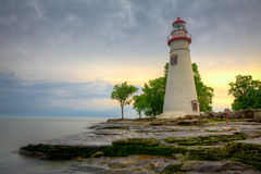 Marblehead Sunrise. Morning view of Lake Erie and the Marblehead Lighthouse Stock Photos
