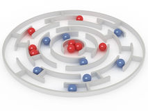 Marbles. Aim to get in a center. 3D rendering stock illustration