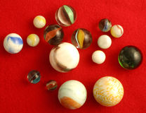 Marbles. A cluster of different sized marbles royalty free stock photography
