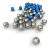 Marbles in blue and metal Royalty Free Stock Image