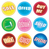 Marbles extra. A collection of nine marbles stroke buttons with sale and retail information