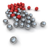 Marbles in red and metal Royalty Free Stock Photos