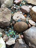 Marbles and rocks. Green blue grey textures Royalty Free Stock Photography