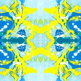Marbling seamless pattern of light blue and yellow stock photo