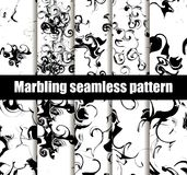 Marbling seamless pattern set. Marbled paper watercolor. Drawing on the water. Grunge textures black and white. Vector. Illustration stock illustration