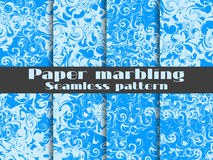 Marbling seamless pattern set. Marbled paper watercolor. Drawing on the water. Grunge textures. Vector Royalty Free Stock Images
