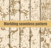 Marbling seamless pattern set. Marbled paper watercolor. Drawing on the water. Grunge textures. Vector. Illustration stock illustration