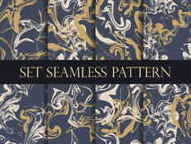 Marbling seamless pattern set. Watercolor marbling illustration. Drawing on the water. Vector Royalty Free Stock Image