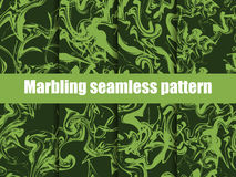 Marbling seamless pattern set. Watercolor marbling vector illustration. Greenery color trend 2017. Vector Stock Photo