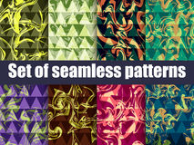 Marbling set seamless pattern. Bright background with triangles. Vector. Illustration Royalty Free Stock Image