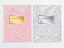 Marbling Texture design brochure. Abstract card with liquid lines. Marble effect. Vector illustration Stock Image