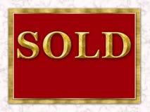 Marbre blanc rouge vendu d'or de signe de Real Estate Images stock