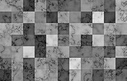 Marbre texturisé avec les blocs carrés géométriques de gradient Remous naturels et ondulations noirs et argentés sur le gris abré illustration de vecteur