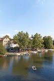 Marburg Lahn River at Weidenhausen district Royalty Free Stock Image