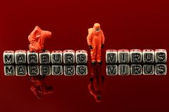 Marburg virus on beads with miniature scale model chemical team Royalty Free Stock Images
