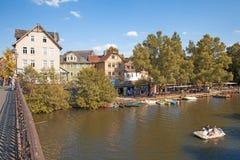 Marburg Weidenhausen. Marburg an der Lahn, Germany - August 1, 2015: Lahn River at Weidenhausen district of Marburg, Hesse, Germany Stock Photos
