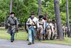 Confederate reenactors marching stock photos