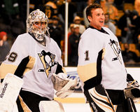 Marc-Andre Fleury e Brent Johnson Peguins (NHL) Immagine Stock