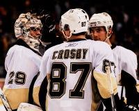 Marc-Andre Fleury en Sidney Crosby, Pittsburgh Penguins stock afbeeldingen